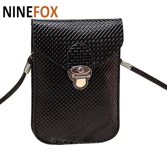 2018 Women Messenger Bags Plaid Leather Luxury Coin Purse Phone Bag Money  Holder Cross Body Bag ad13a4e4c8