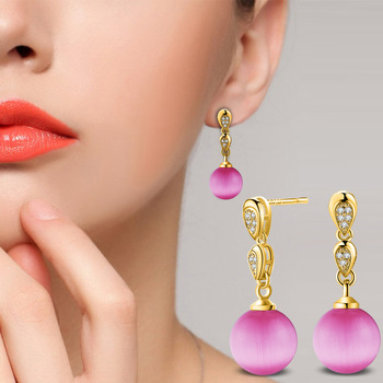 Trending Now 4 Color Romantic Geometric Statement Earrings for Women Pearl Beads Brand Jewelry ED1 2