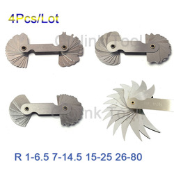 4 Pcs Radius Gauges Set R0.3-1.5/R1-7mm/R7.5-15mm/R15.5-25mm Stainless Steel R1-6.5 7-14.5 15-25 26-80 Concave Convex arc tools