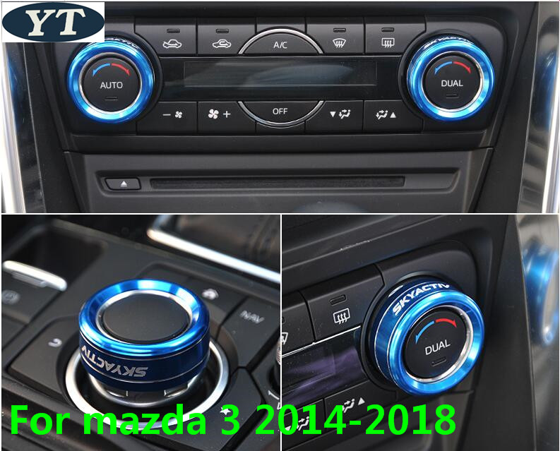 Auto Air Conditioning AC Knob Switch Trims For Mazda 3 2014-2018,auto Accessories,3pcs/lot,car Styling