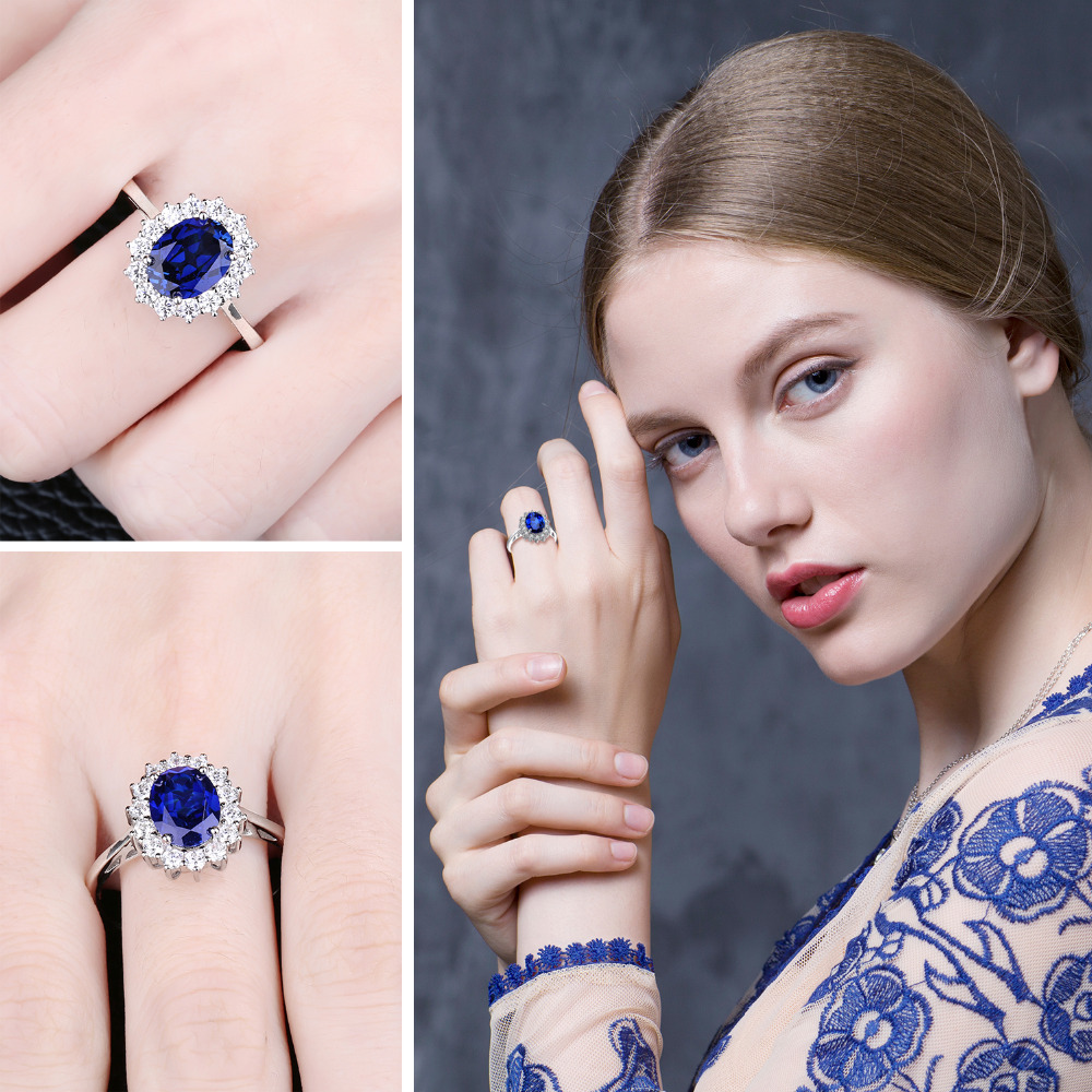 JewelryPalace Princess Diana William Kate Middleton's 3.2ct Created Blue Sapphire Engagement 925 Sterling Silver Ring For Women 3