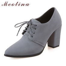 Meotina schuhe frauen high heels frauen pumpt frühling schnüren kleid starke Fersen Spitz Damen Schuhe Grau Schwarz Große Größe 11 45