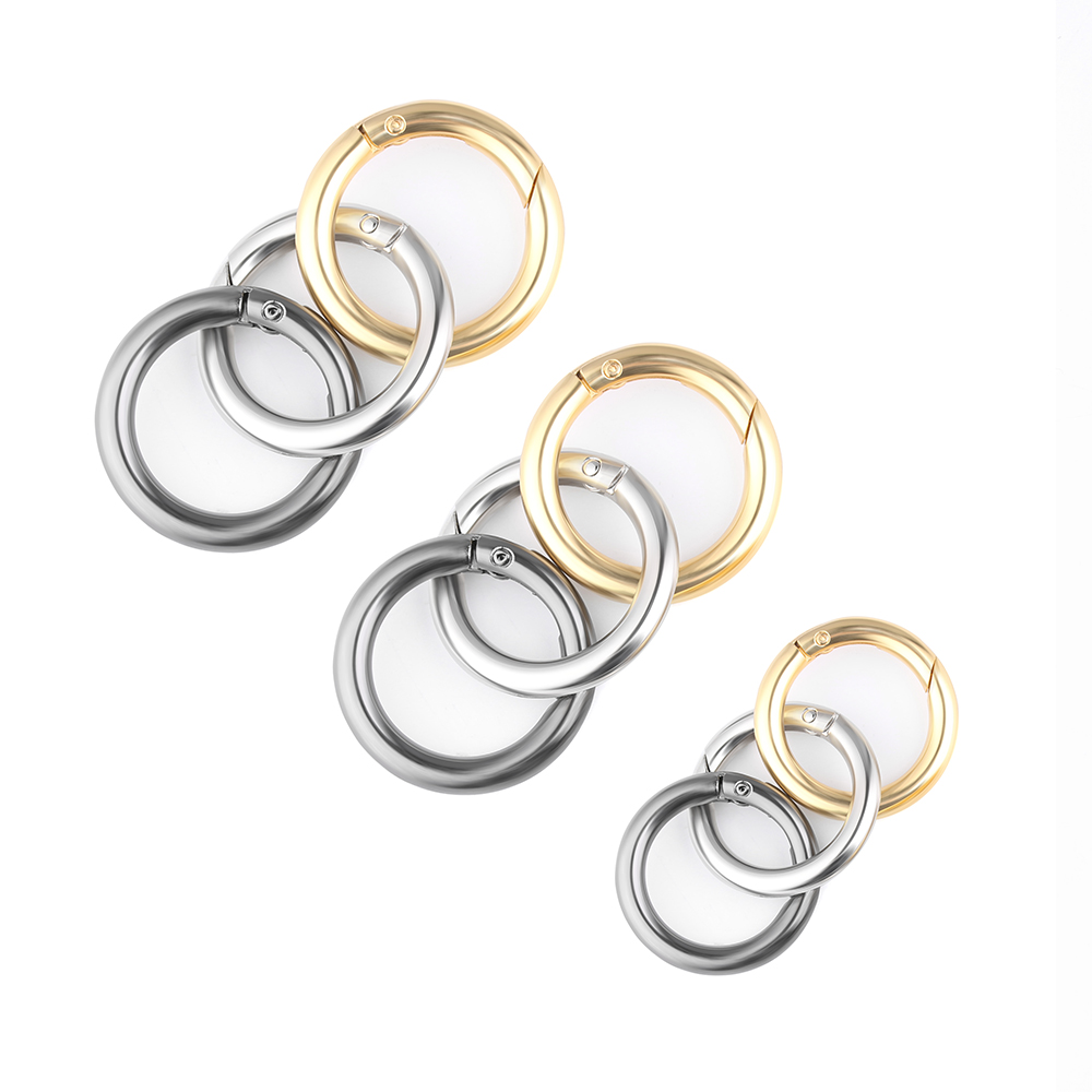 2pcs Zinc Alloy Plated Gate Spring O-Ring Buckles Clips Carabiner Purses Handbags Round Push Trigger Snap Hooks Carabiner