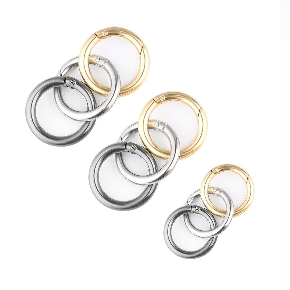 2pcs Zinc Alloy Plated Gate Spring O-Ring Buckles Clips Carabiner Purses Handbags Round Push Trigger Snap Hooks Carabiner