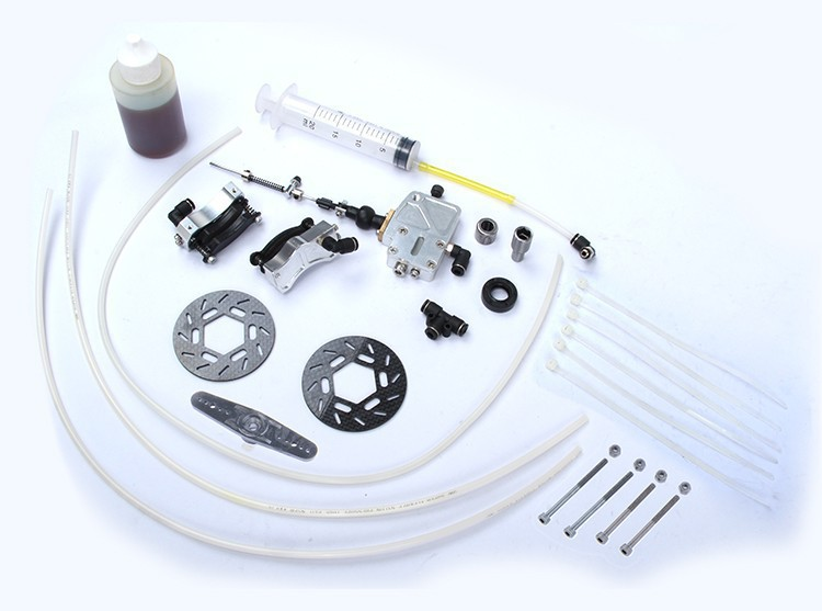 Free Shipping !!!! Hydraulic Disc Brake Set fit HPI Rovan baja 5B front wheel main pump combination for gtb 4 wheel hydraulic brake set fit for 1 5 rc car hpi baja 5b ss