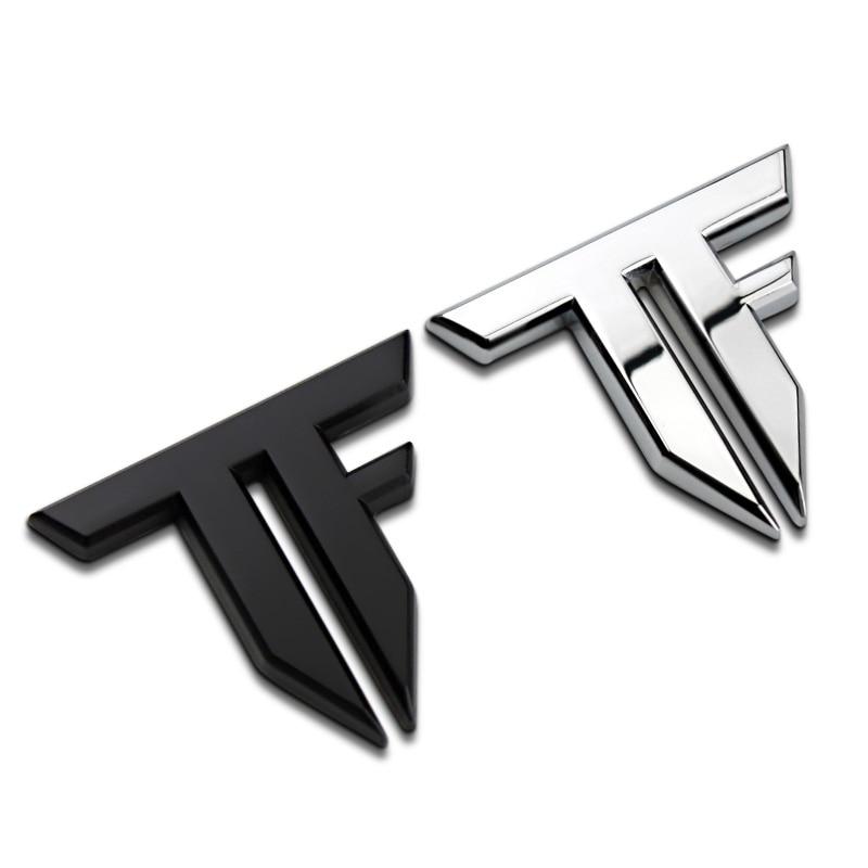 Bilklistermärke Emblem Badge TF Letter Logo Metal 2 färger 6x5cm Tuning Auto Motorcykel Bil Styling Tillbehör