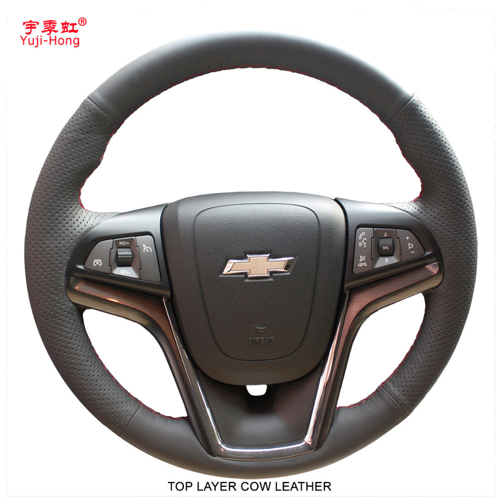 Yuji Hong Top Layer Genuine Cow Leather Car Steering Wheel Covers Case for Chevrolet Malibu 2011