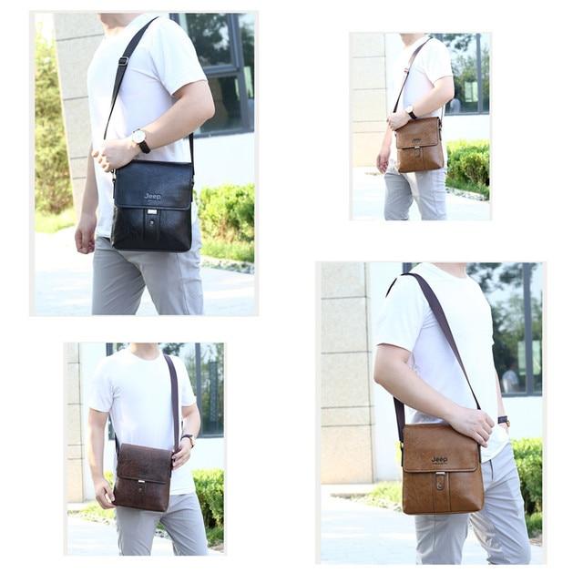 JEEP BULUO Men Shoulder Bag Set Big Brand Crossbody Business Messenger Bags For Man Fashion Casual pu Leather New Hot Salling 3