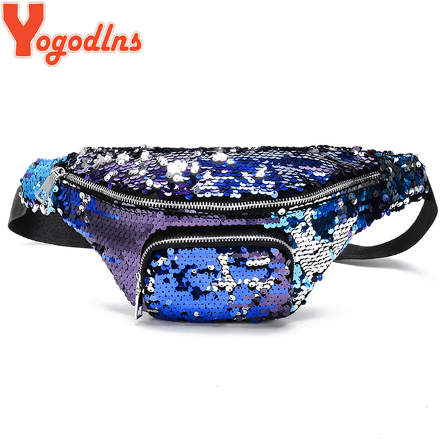 Yogodlns New Arrival Sequined Chest Bag for Women PU Leather Sling Bag Purse Casual Crossbody Shoulder Bag Bling Waist pack