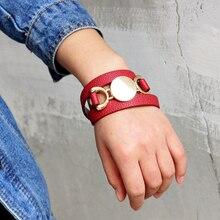 6 Color Fashion Multilayer Women Leather Bracelet Trendy Adjustable Bracelets Charm Cuff Bracelet Jewelry For Women Wholesale gorgeous multilayer knitted braid alloy cuff bracelet for women