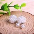 2017 Fashion Jewelry Women ball Earrings Double Pearl Stud Earrings For Women Set Girl Colorful