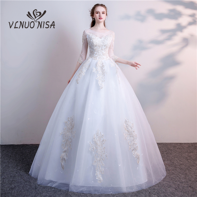 Real Photo 2018 Floral Print Luxury Wedding Dress Embroideried ...