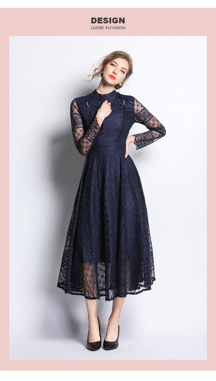Dark Blue Lace Long Sleeve Retro Dress 2