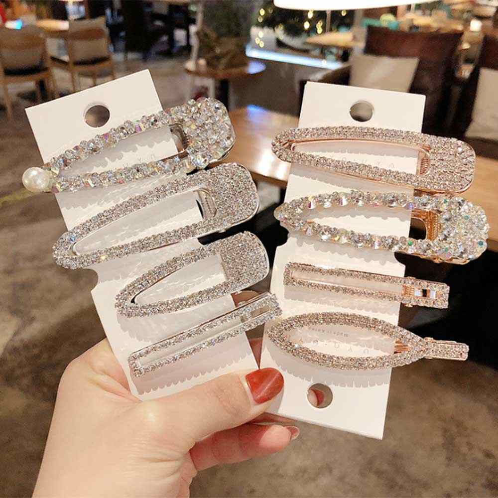 Full Crystal Hairpins Woman Hair Accessories Pearl Hair Clips Korean Style Hair Grip Girls Sweet BB Clips Barrettes Headwear