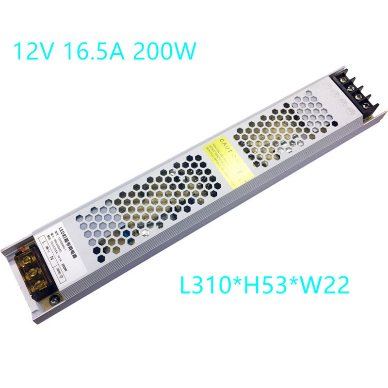 Power Supply 12V 16.5A 200W Ultra Thin Switching Power Supply 12 Volt LED Electronic Transformer For LED Strip Light Box image