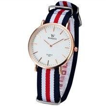 2016 Famosa Marca de Fábrica Superior de Lujo Canvos Tela Correa Deporte Militar Relojes Hombres Mujeres Color Oro Movimiento de Cuarzo Caja de Reloj de Pulsera
