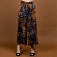 Новое поступление в китайском стиле Для женщин 100% шелковые брюки с широкими штанинами свободные Повседневное с эластичной резинкой на тали