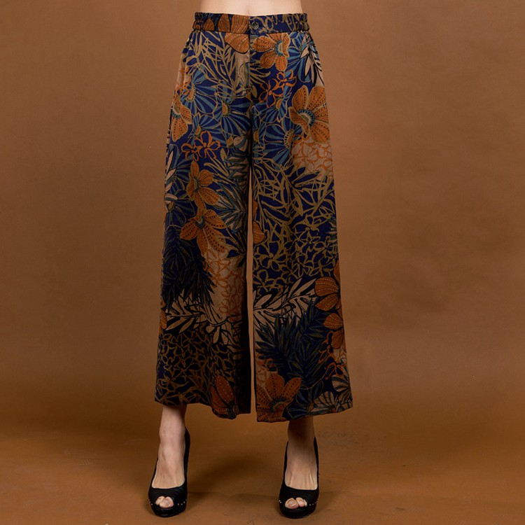New Arrival Chinese Women's 100% Silk   Wide     Leg     Pants   Loose Casual Elastic Waist Trousers Plus Size M L XL XXL XXXL 4XL 1112