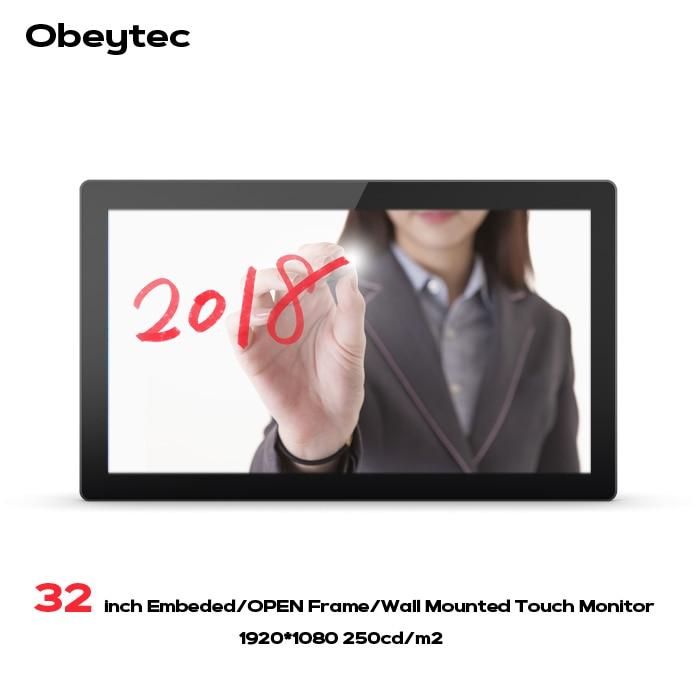 Obeytec 32 pouces IP65 LCD large P-CAP capacitif cadre ouvert moniteur tactile, 16:9, résolution FHD, écran tactile PCAP, 10 Points