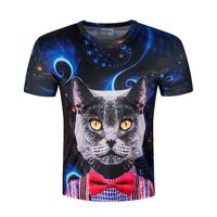 New Summer Men 3D T Shirt Cat Print Funny Dry Fit Short Sleeve Round Neck Brand
