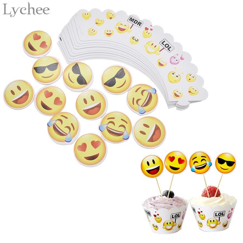 Lychee 24pcs/lot Cartoon Anime Emoji Cake Toppers Baby ...