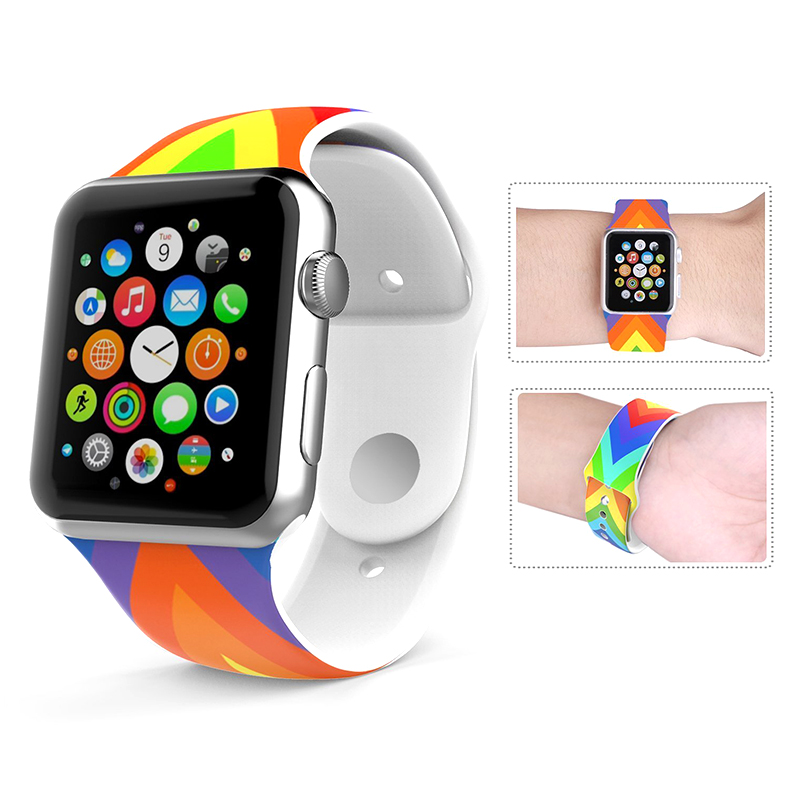 Silicone Sport Band For Apple Watch 42mm 38mm 3 2 1 Strap Bracelet For iWatch Wrist Rubber National Flag Watchband Metal buckle jansin 22mm watchband for garmin fenix 5 easy fit silicone replacement band sports silicone wristband for forerunner 935 gps