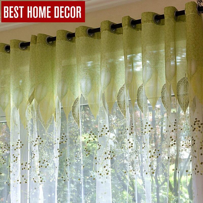 BHD Sheer Tüll Fenster Vorhänge Für Wohnzimmer Das Schlafzimmer Der Küche  Moderne Tüll Vorhänge Grüne Blätter Stoff Jalousien Vorhänge