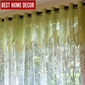 BHD sheer tule cortinas para sala de estar do quarto da cozinha moderna cortinas cortinas cortinas de tule tecido de folhas verdes