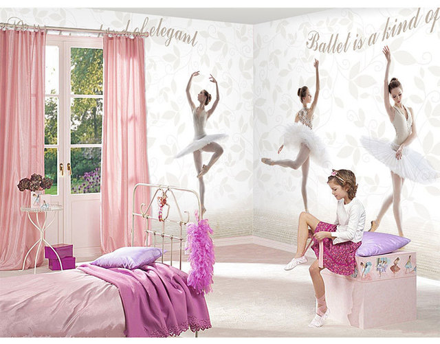 European ballet vintage white brick wall murals dance room wallpaper