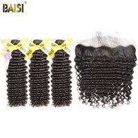 BAISI Haar Europäischen Reines Haar Tiefe Welle 100% Unverarbeitetes Menschenhaar 10-28 zoll, 3 Bundles und 13x4 Frontal, freies Verschiffen