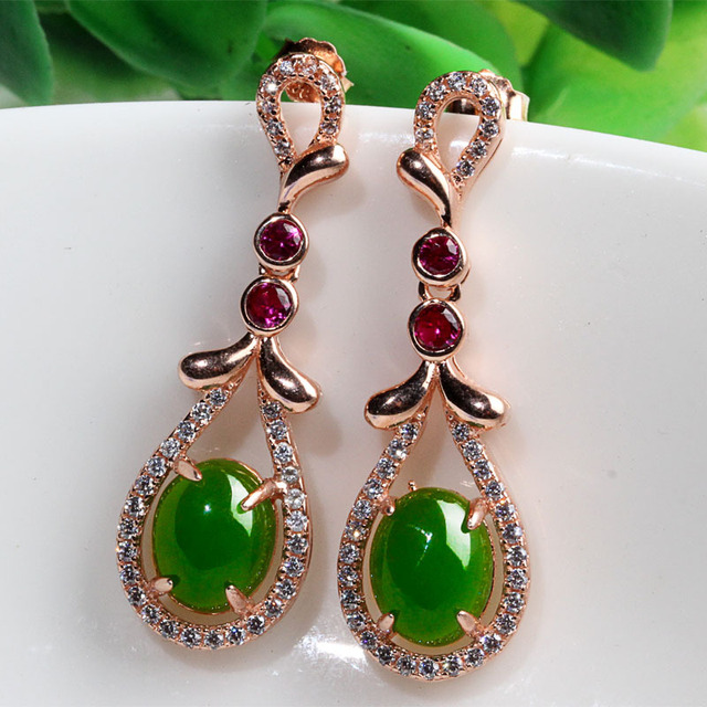 Genuine natural and nephrite jade pendant earrings jewelry earrings genuine natural and nephrite jade pendant earrings jewelry earrings egg surface inlaid jade earrings earrings female aloadofball Image collections