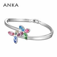 Pulseras brazaletes moda Crossfit Pulseiras joyería India nueva doble flor brazalete cristales de Swarovski #102886