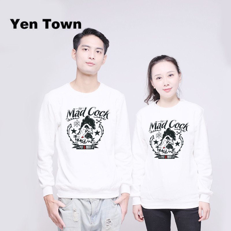 Yen Town Fashion Mad Cock Hoodies Unisex Jumper Sweats Warm Harajuku Sweatshirt Autumn Winter Pullover S-4XL
