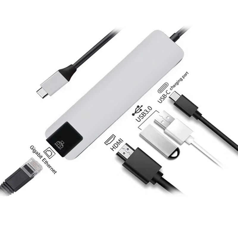 5 в 1 Usb type C концентратор Hdmi 4 K Usb C концентратор к Gigabit Ethernet Rj45 Lan адаптер для Macbook Pro Thunderbolt 3 Usb-C зарядное устройство Порт