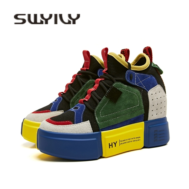 SWYIVY Sneakers Woman Platform Genuine Leather 2018 Autumn New Female  Casual Shoes Wedge High Heel Comfortable Quality Sneakers ae4961014187