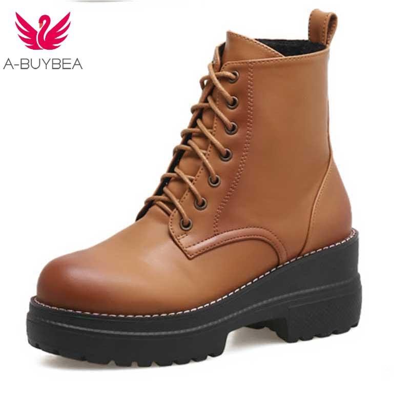 6e52aa152335b0 Chaussons Femme Noir Automne Anti Footwears Femmes slip Rond Cuir Bottes  Cheville Talon Faible Martin Dames Printemps Bloqué Bout Chaussures ...
