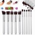 Professional Ferramentas de Maquiagem Cosméticos Escovas 10 pcs Brushes Set Pó Eyeshadow Lip Blush Kits de Madeira Handle Beleza Branco Prata