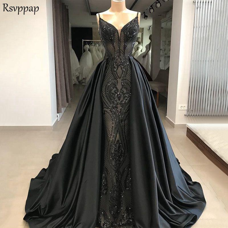 Longue robe de soirée 2019 nouveauté sirène col en v magnifique dentelle Long Train noir formel arabe robe de soirée robe de soirée