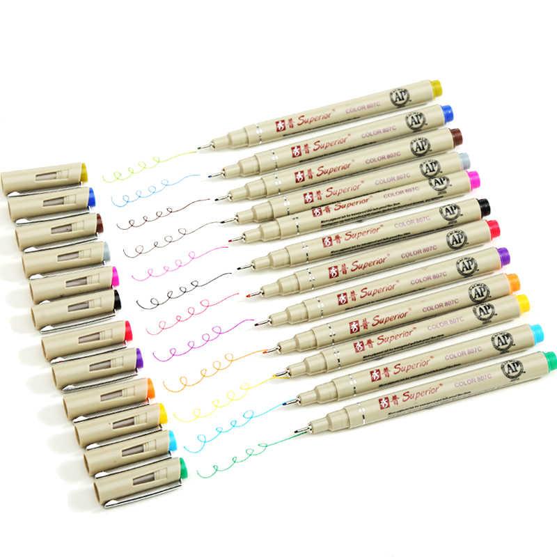 متفوقة Fineliner قلم رسم 12 لون إبرة قلم رسم مجموعة لرسم الفن علامات المانجا ماركر ورأى أقلام مظاريف اللوازم المكتبية
