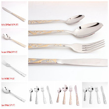 Personality Silver Gold Exquisite Pattern Stainless Steel Dinner 4pcs/set Fork/Spoon/Knife Flatware Tableware Design Modern Look