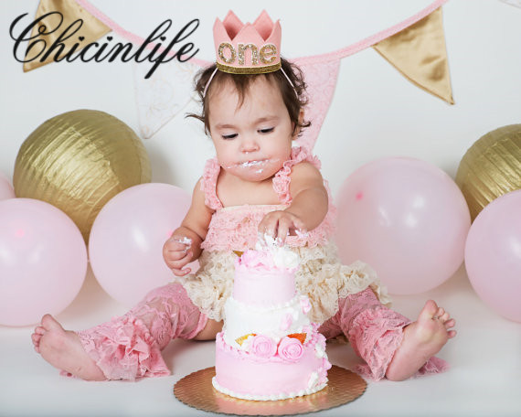 Chicinlife Baby Girl First Birthday Headband Crown Princess handmade  Hairband Hair Band Baby Shower decoration party supplies d4b2fc4c663