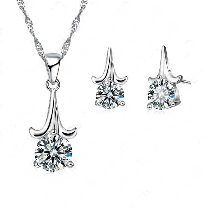 JEXXI 2018 Fine Cubic Zirconia Pendant Necklace Women Fashion Jewelry Plant 925 Sterling Silver Earrings Chain Jewelry Sets