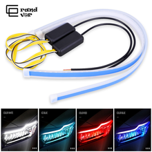 2PCS Car Lights DRL LED Daytime Running Lights White Car Styling Accessories Turn Signal Guide Strip For Auto Headlight Assembly цены