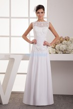 free shipping 2014 new design fashion small train with lae jacket bride married long custom size/color white Bridesmaid Dress