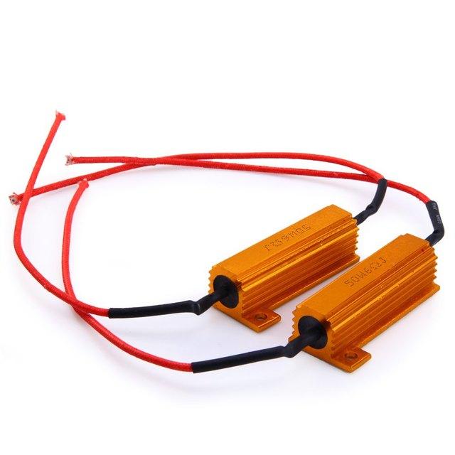 2Pcs/Set 50W Motorcycle LED Turn Signal Control Load Resistor Resistance Bulb Light Fix Error Flash Blinker Warning Controller