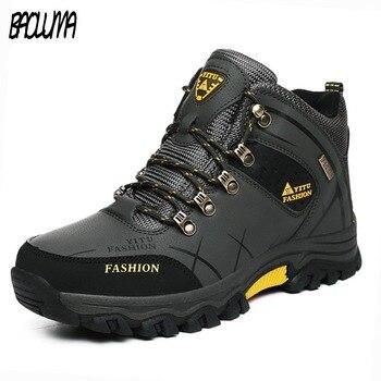 Мужские зимние сапоги больших размеров, теплые зимние мужские Кожаные сникерсы с мехом, Уличная обувь на нескользящей платформе со шнуровк...