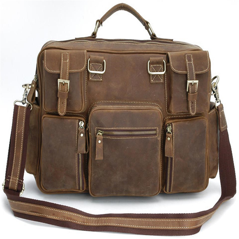 Vintage Handbags Men Genuine Leather Men's Shoulder Bag Large Anti Theft Laptop Business Briefcase Male Messenger Crossbody Case