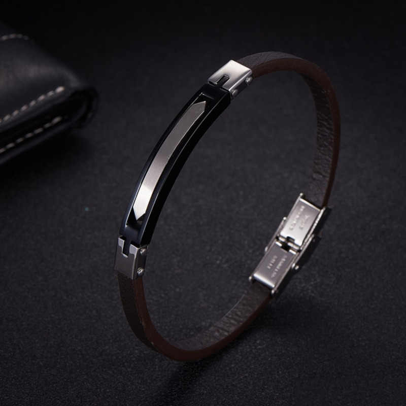 NAIQUBE Bracelets for Men Leather Titanium Steel 2019 Fashion Classic Wrap Bracelet Bangle For Men Jewelry Gift