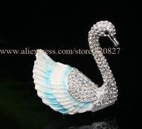 Swan Hinged Treasure Box Swan Handmade Jeweled Metal Trinket Box Swan Trinket Box Bejeweled Handcrafted Crystal Swan Ring Box