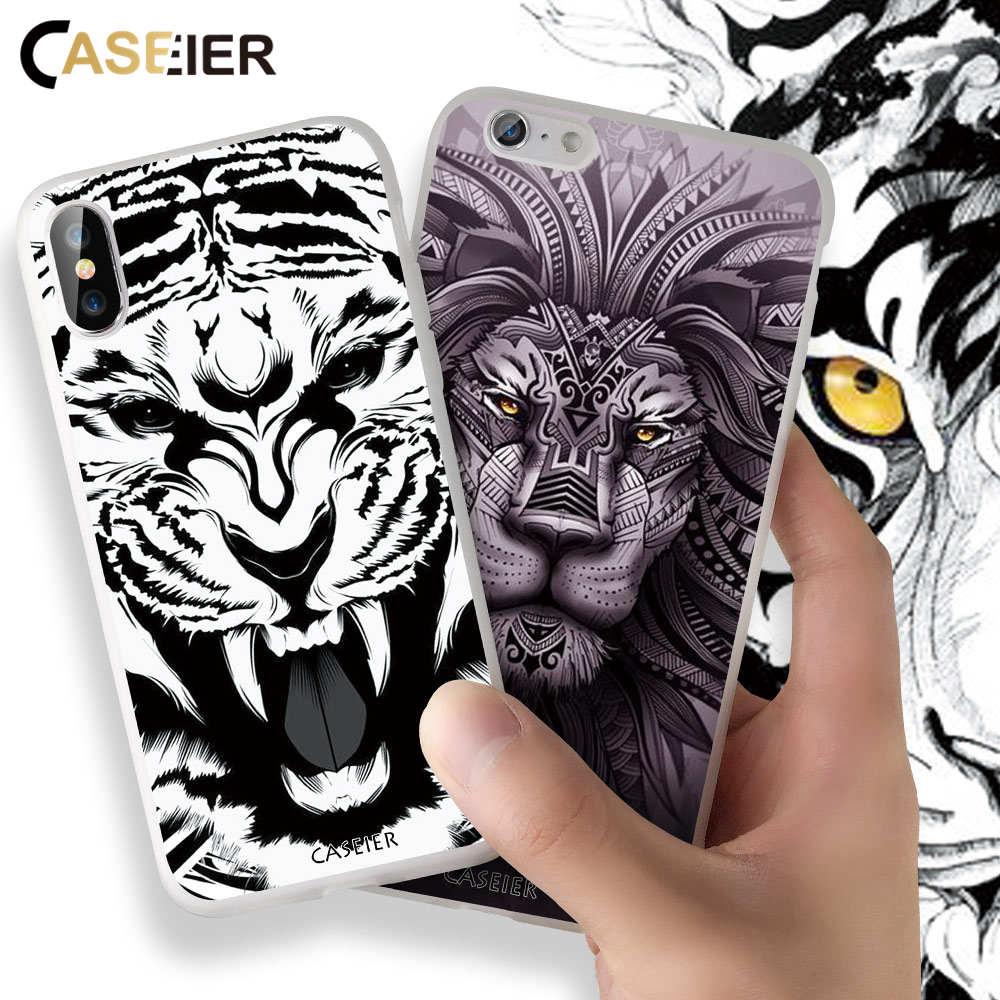 CASEIER New Case For iPhone 6 6s 7 X XR Tattoo matte retro series for iPhone 5 5S SE 7 Plus 8 Plus XS Max XR  Funda Accesories
